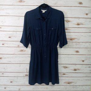 Fun & Flirt Blue 3/4 Sleeve Pull On Style Dress L